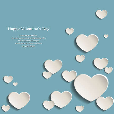 Vector illustration of an abstract blue background covered with white hearts with shadows Ilustração