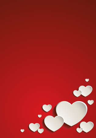 Vector illustration of a red Valentine's card ornate with cute white paper hearts with shadows Ilustração