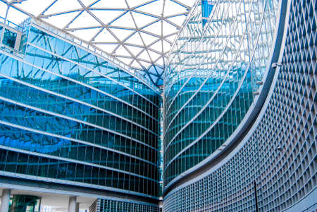 Glass and steel interior structure of the Palazzo della Regione Lombardia, house of the Regional Council and the Presidency, in