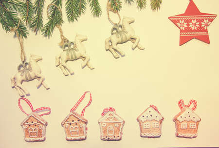 Beautiful white horses gallop across the sky to the star. They jump over a gingerbread.