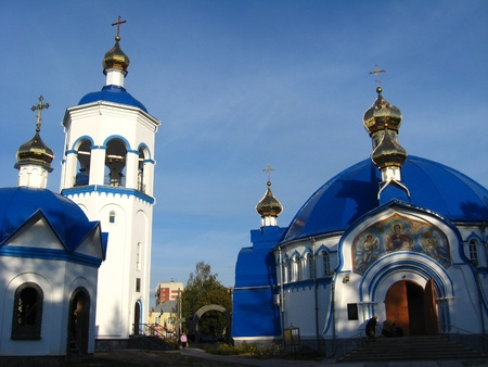 a beautiful small Christian monastery with nice church photo