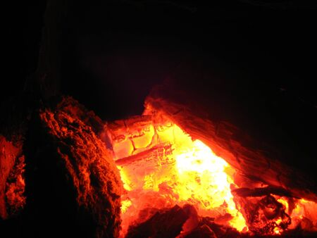 coals: Fire wood burn in an oven Stock Photo
