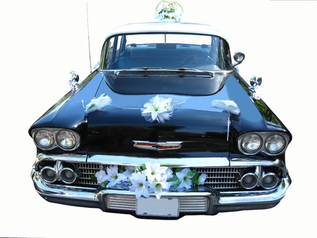 The retro car for the wedding on a white background