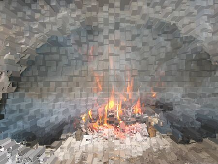 Fire in the furnace in the form of puzzles