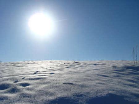 Winter solar landscape with bright snow on the sun photo