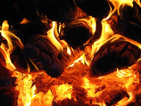 warmly: Fire wood brighly burning in the furnace Stock Photo