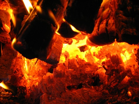 coals: Fire wood burning in the furnace