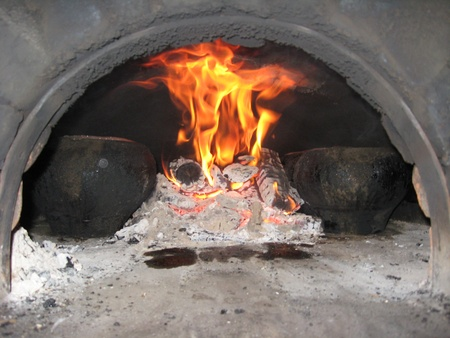 coals: Flame in the furnace with pig-iron