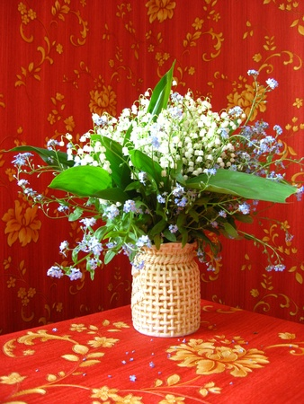 Bouquet of lilies of the valley and blue flowers on a red background photo