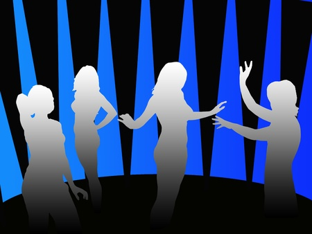 cheerfully: Silhouettes of four girls cheerfully dancing in a disco