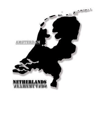 Black silhouette of a map of Holland with a capital photo