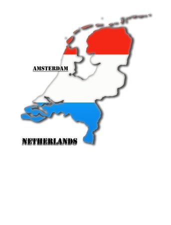 Coloured silhouette of a map of Holland with capital photo