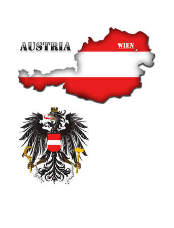 Coloured silhouette of the map and the arms of Austria photo