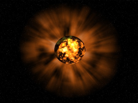 the bright explosion on the unknown planet Stock Photo