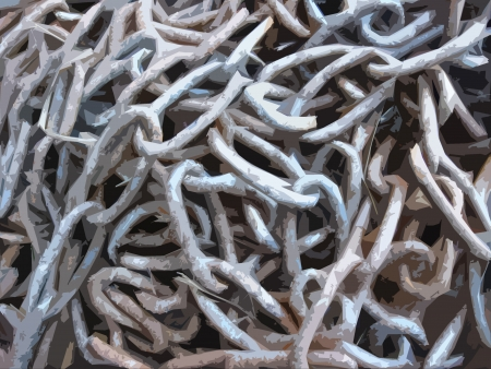 The image of sheaf of metal chains photo