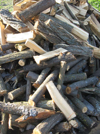 The image of heap of the prepared fire wood
