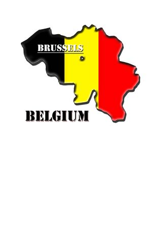 Map,arms and flag of Kingdom of Belgium with a designation of capital photo