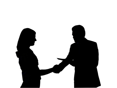 Silhouette of the man shaking hand to young woman on the white background photo