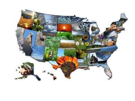 사진으로 구성된 미국의 국가지도의 이미지 스톡 콘텐츠 - 15481528