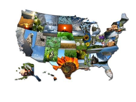 Het beeld van kaart van staten van de VS, bestaande uit foto's Stockfoto