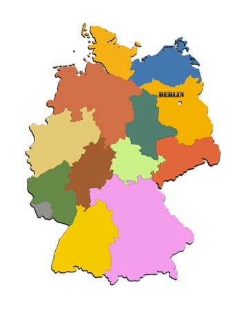 Coloured silhouette of the map of Germany photo