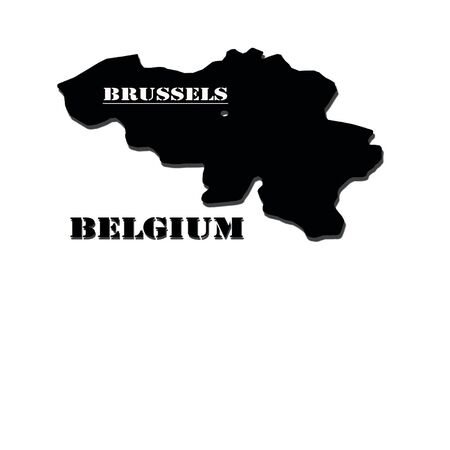eurasian: Black silhouette of a map of Belgium with a designation of capital