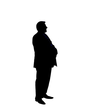 Silhouette of the businessman standing on the white background Stock Photo - 16318946