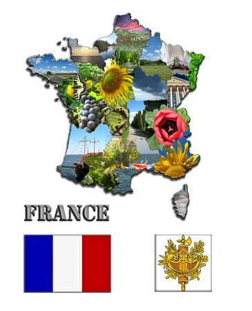 Coloured map of France  from images and the herb