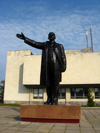 The big and black monument to the leader of world proletariat Lenin photo