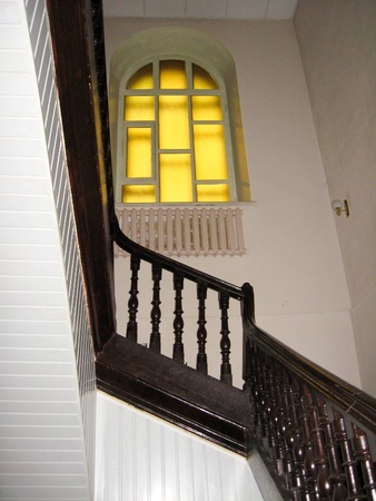 The image of nice wooden stairs with window Stock Photo - 16875913