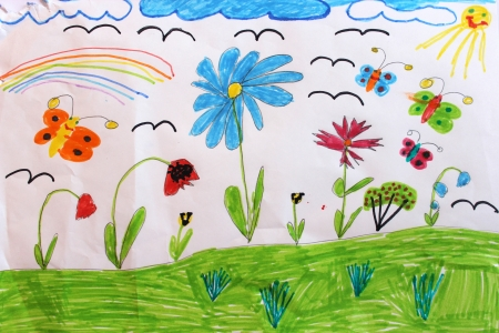 Multicolored children's drawing with butterflies and flowers
