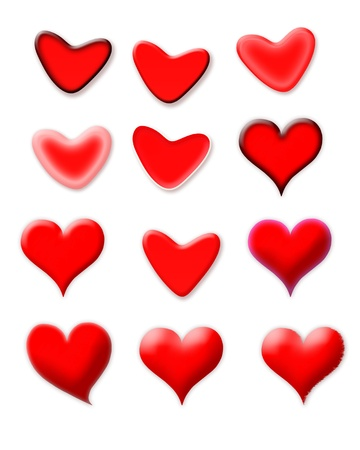 Set of red hearts with different shapes isolated on white background photo