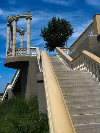 The image of beautiful stairs leading downwards in the city photo