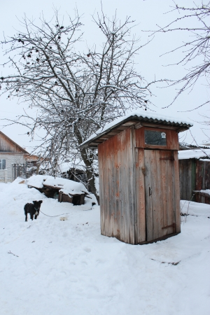 Rural toilet and black dog in winter Stock Photo - 17472445