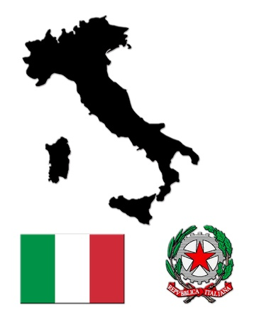 The black map of Italy,f flag and the arms photo