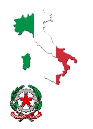 armorial: The colored map of Italy and the arms Stock Photo