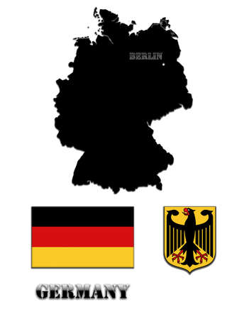 Coloured silhouette of the map and the herb of Germany photo