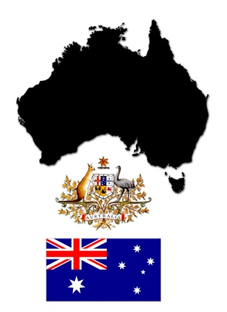 Black silhouette of the map and the herb with flag of Australia photo