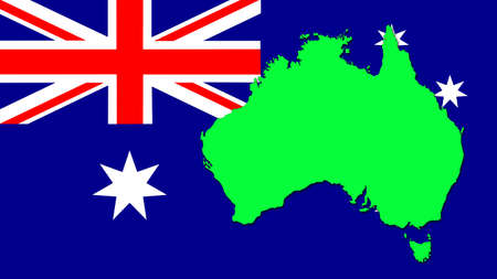 Green silhouette of the map on the flag of Australia photo