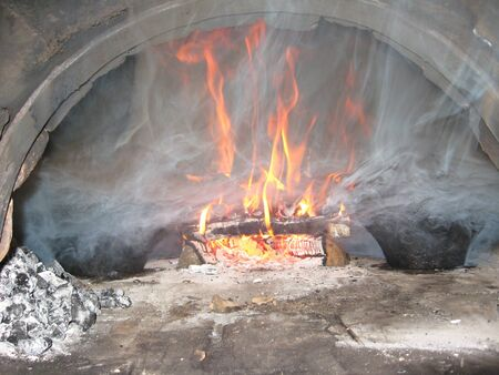 furnace: image of cooking on fire in the furnace Stock Photo