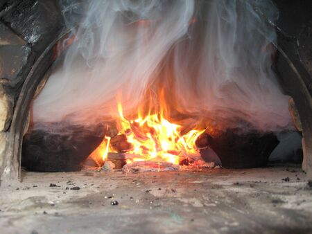 coals: image of cooking on fire in the furnace Stock Photo