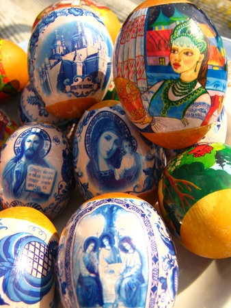 image of a lot of easter eggs with colorful drawing photo