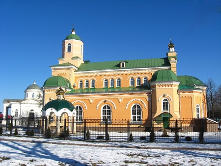 olden: Beautiful church on a background of the blue sky in Priluky town