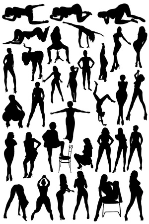 Different silhouettes of the women on the white background photo
