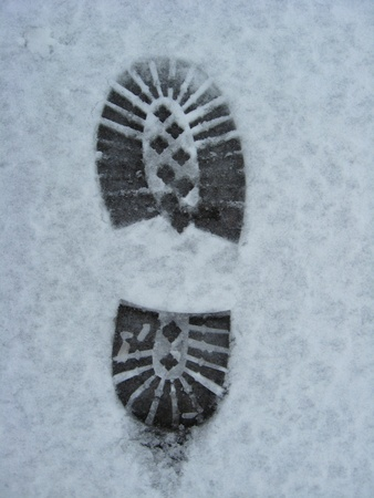 image of trace of shoe on a snow