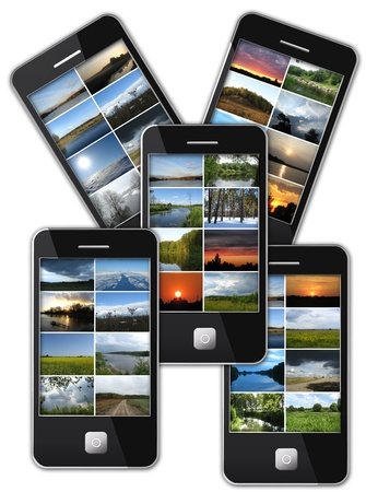 image of five modern mobile phones with many photo of landscapes photo