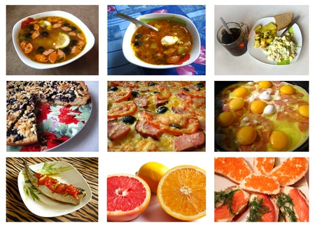 Collage from images of various dishes for restaurant photo