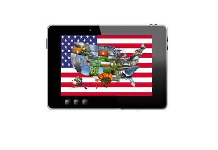 illustration of black tablet and colorful map of USA isolated on white background illustration