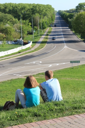 image of  young couple enamoured people on a background of road Stock Photo - 19754514