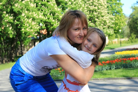 image of mother and daughter are hugging one another Stock Photo - 19667555